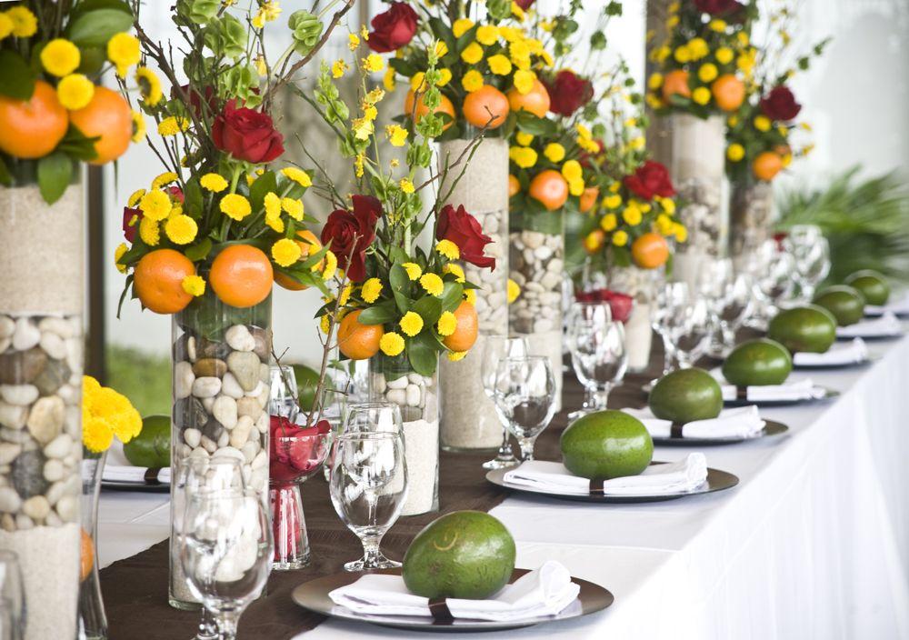 Tischdeko mit Orangen