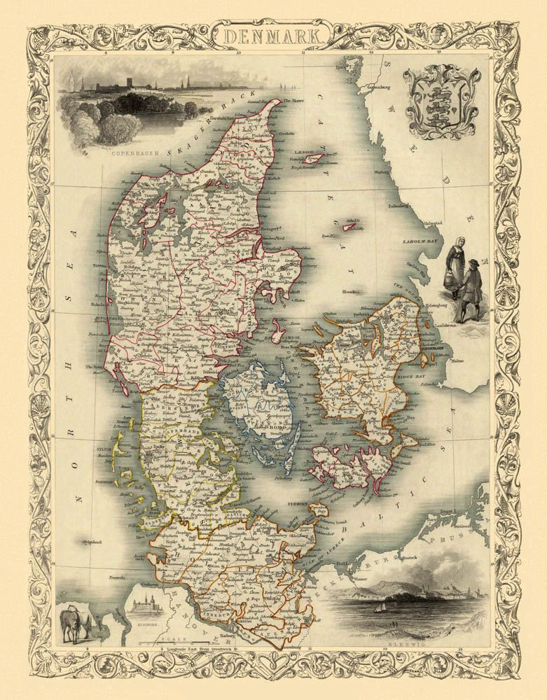 Antique Map Old Map Of Denmark Vintage Map Of Denmark Fine
