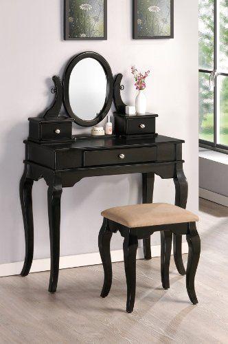 Vanity Set in Black Finish with stool , Vanity all is Vanity