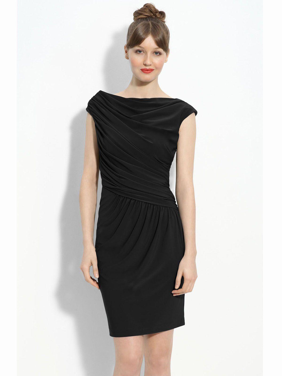2012 Absorbing Black Mini Length Satin Wrinkle Little Dress | Little ...