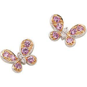 e24459d41 Genuine Pink Sapphire & Diamond Butterfly Earrings #stuller | Jewelry