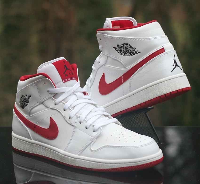 d0ab3576b923 Air Jordan 1 Retro Mid White Red Black 554724-101 Basketball Men s Size 13   AirJordan  BasketballShoes