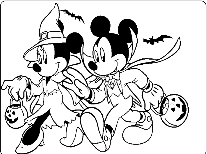 Mickey And Minnie Halloween Coloring For Kids