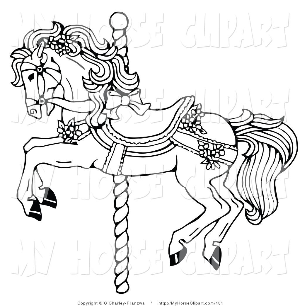 clip art of a black and white carousel horse decorated in bows and flowers [ 1024 x 1044 Pixel ]