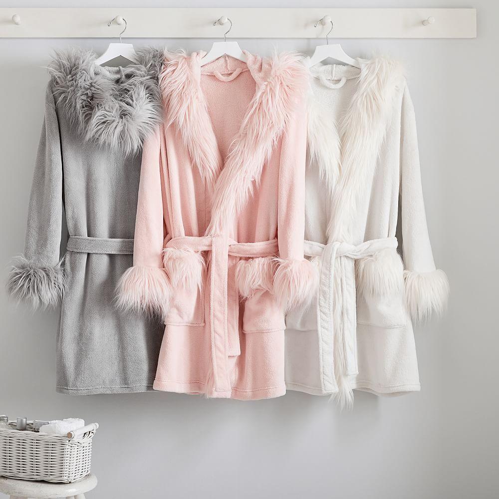 Faux Fur  Robe Sleepwear Women Wedding Bridal Bathrobe Sash Trimmed Belt