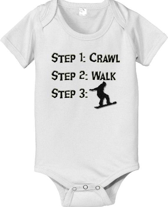 3902c43ac0e0 Steps crawl walk SNOWBOARDER baby infant by CustomTeesForTots ...