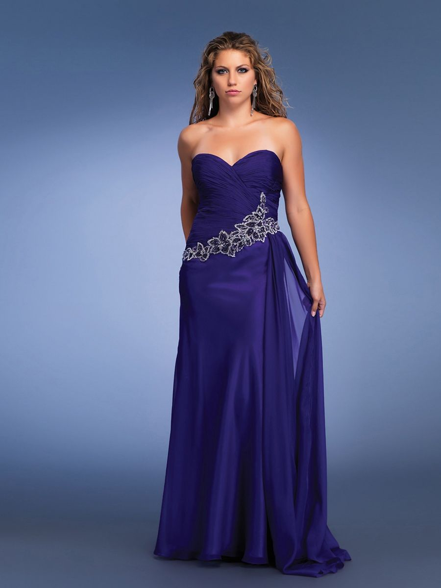Beaded Chiffon Strapless Sweetheart Full Length Evening Dress
