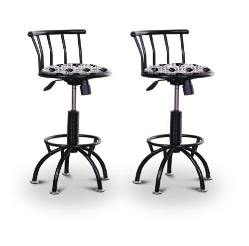 """2 24""""-29"""" Houston Texans Seat Black Adjustable Specialty / Custom Barstools Set by The Furniture Cove. $229.88. 24"""" to 29"""" Adjustable Seat Height. Black Metal Finish. Back Rest and Foot Rest. Swivel Seat. Houston Texans NFL Football Themed Fabric Print Seat. These have a fitting appearance for a wide variety of places. They look and feel great, feature a Houston Texans NFL Football themed fabric print seat, and are impressively versatile. The frame is made of metal making ..."""