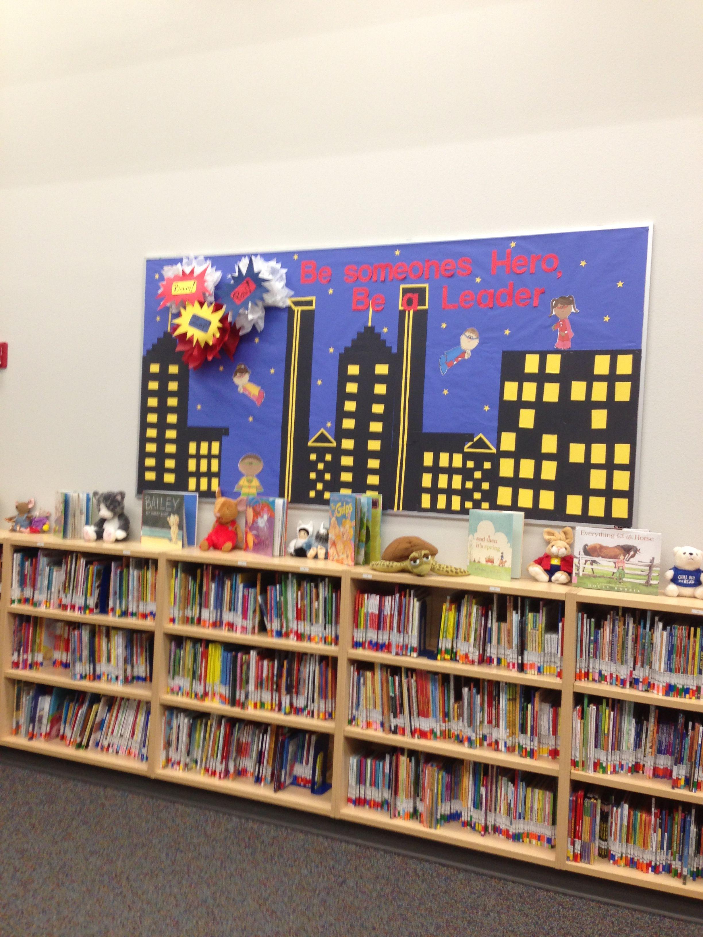 Superhero Theme Library Bulletin Board