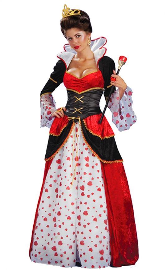 Costume Carnevale Donna Da Regina Di Cuori Vestito Travestimento Festa Halloween