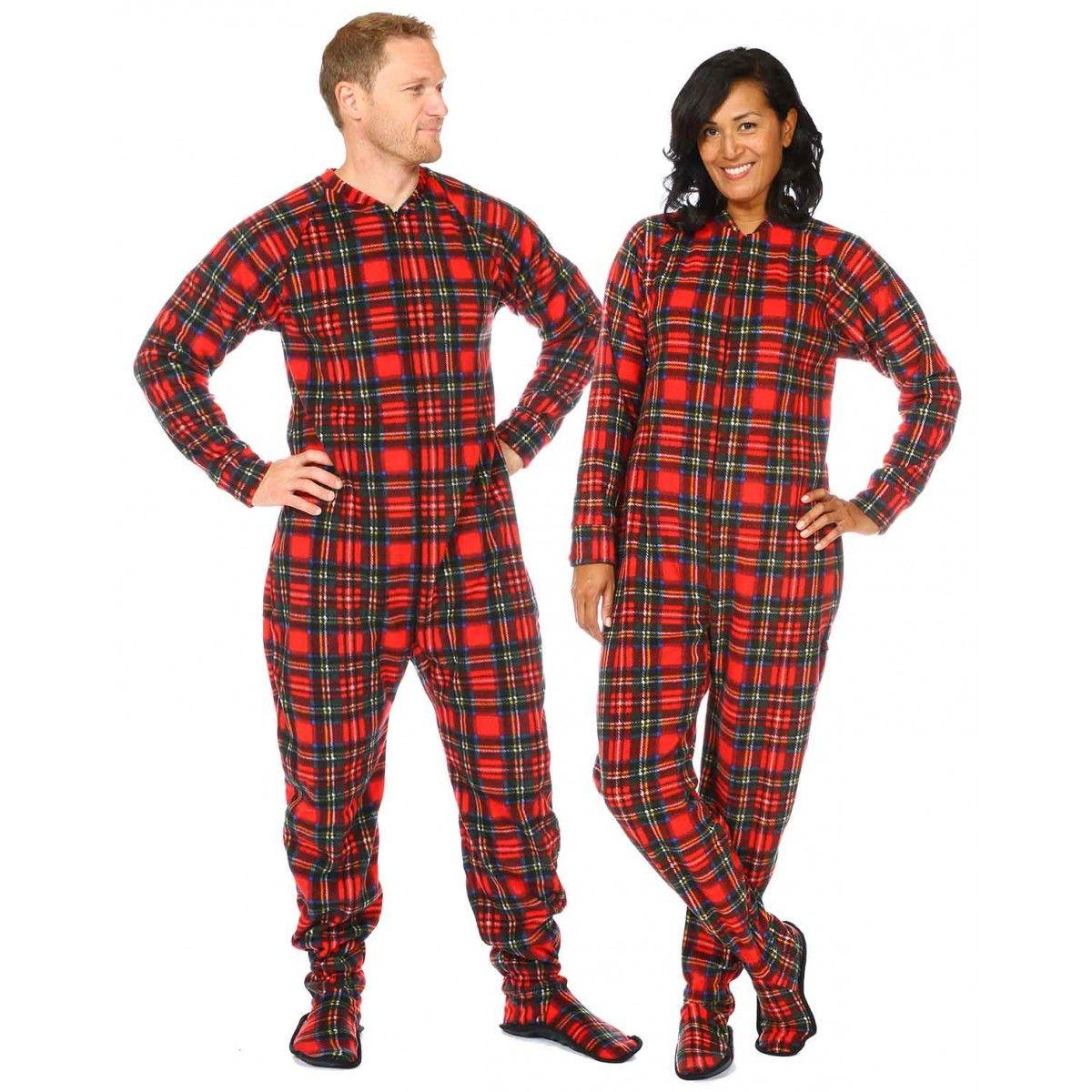 Christmas Plaid Adult Footed Pajama Adult footed pajamas