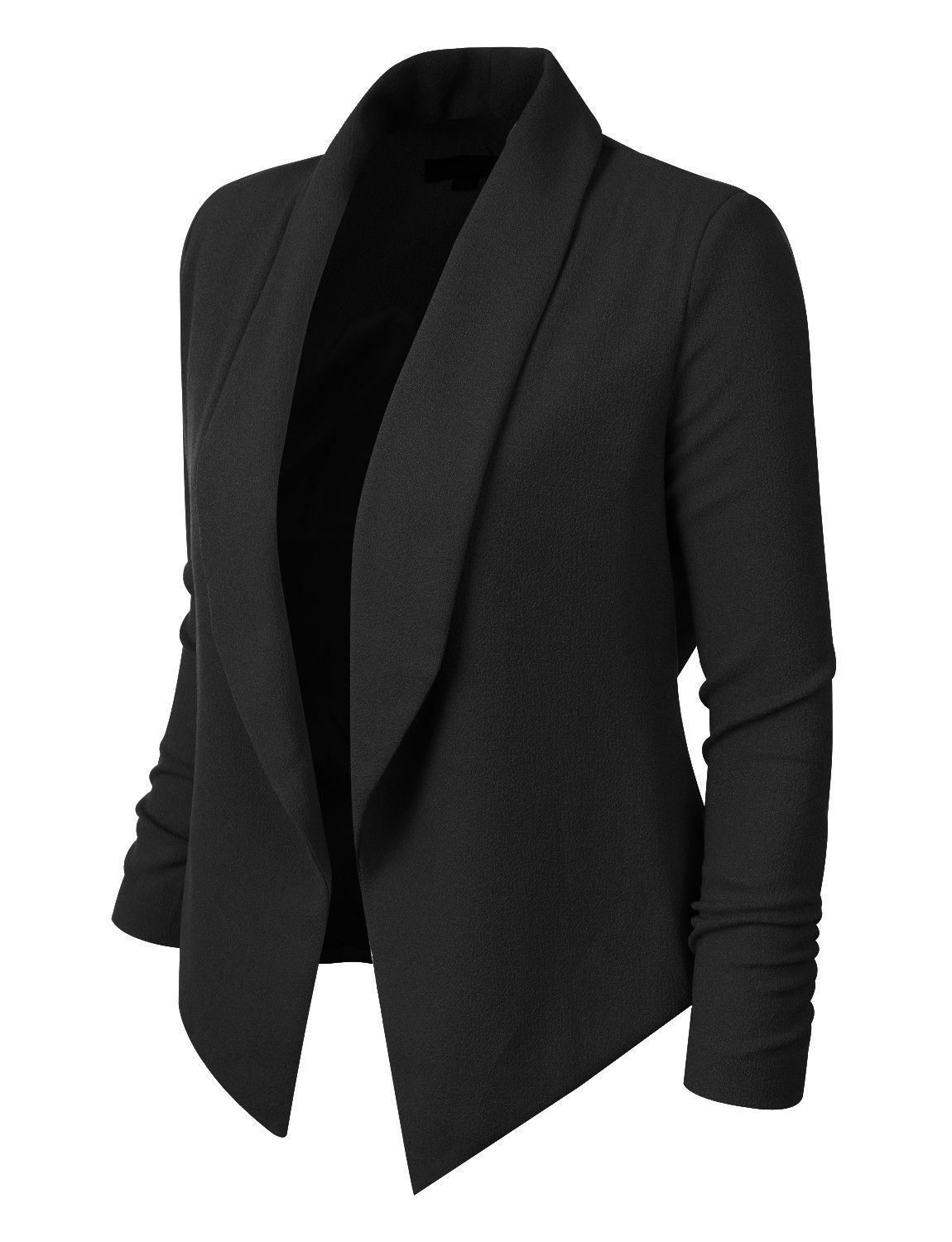Step out of the box with our textured 3 4 sleeve open blazer jacket ... 6df4b1abdbf0