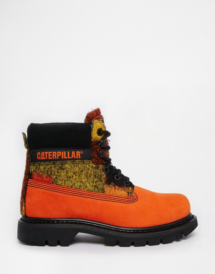 Image 2 of Cat Footwear Colorado Orange Wool Mix Leather Ankle Boots