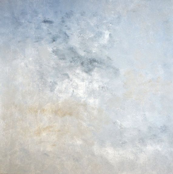Sold Original Abstract Painting Pearl White Blue Wall Art: Acrylic Abstract Art Painting With Grey, Brown, Beige And