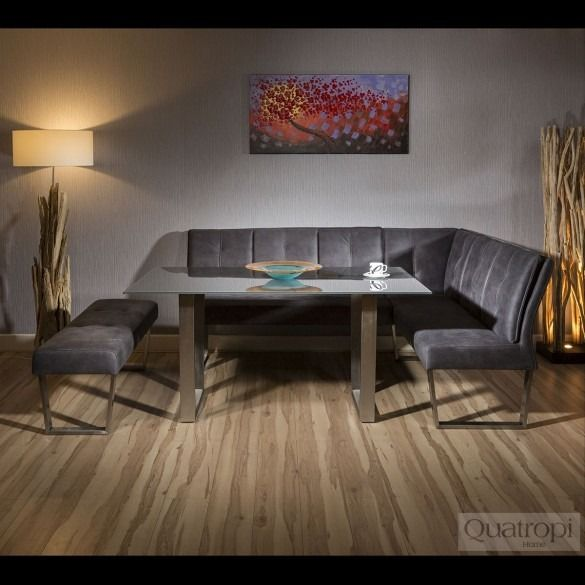 Suede Nook Dining Table And Bench Set