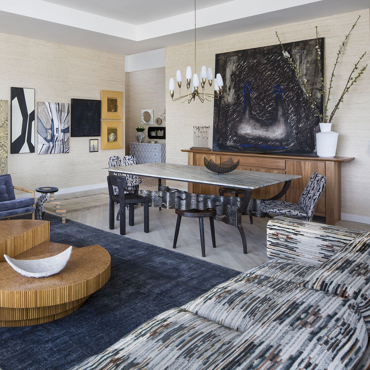 kelly wearstler interiors living room to dining room hollywood proper residences penthouse