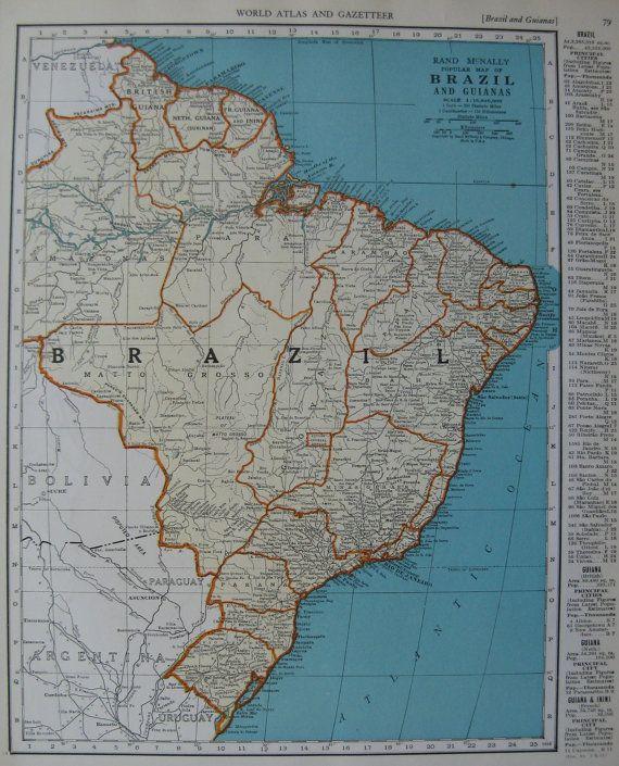 Vintage brazil map of brazil 1939 south america by plaindealing vintage brazil map of brazil 1939 south america by plaindealing gumiabroncs Gallery