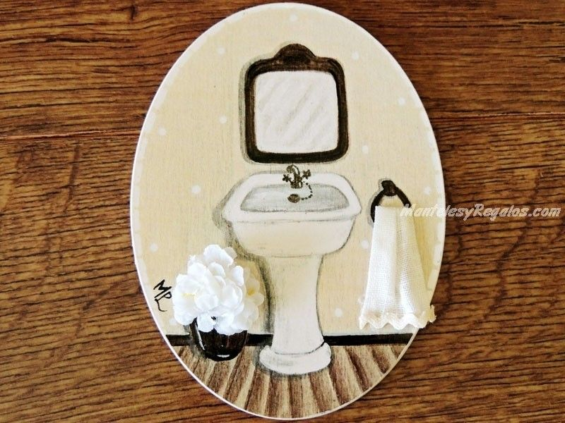 Placa de madera para puerta hecha a mano modelo baño fondo beige
