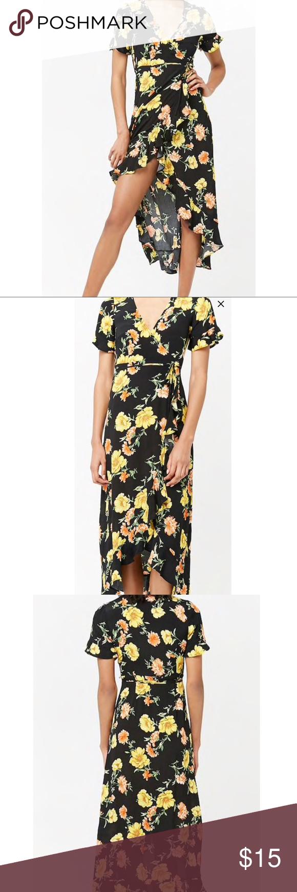 Forever 21 Nwt Black Floral Xl Women S Dress Womens Dresses Long Wrap Dress Dresses [ 1740 x 580 Pixel ]