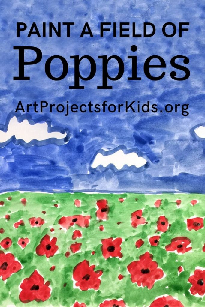 Veteran's Day Poppy Painting Art projects, Easy art