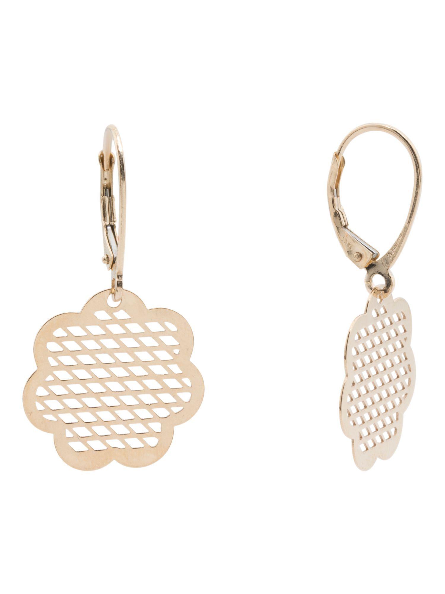 Made In Italy 14k Gold Flower Cutout Diamond Cut Earrings