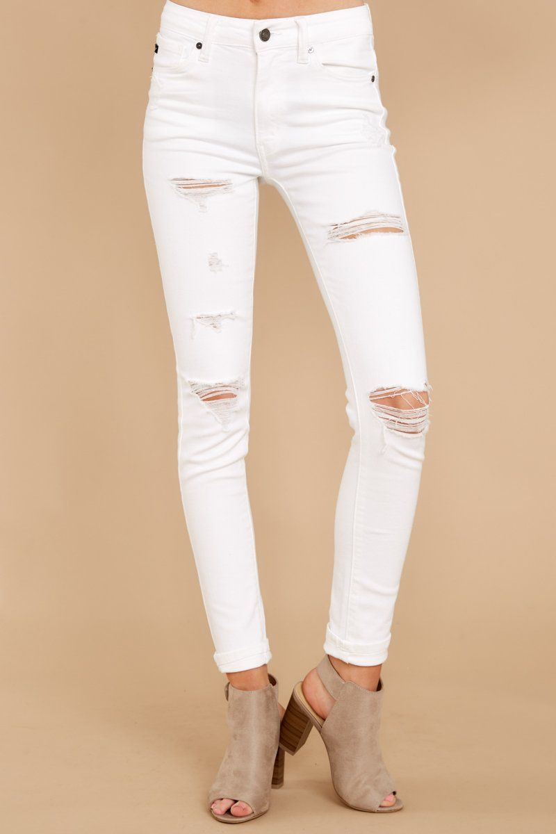4aa6a0d486981 Trendy White Distressed Jeans - White Denim Skinny Jeans - Pants -  44 –  Red Dress Boutique