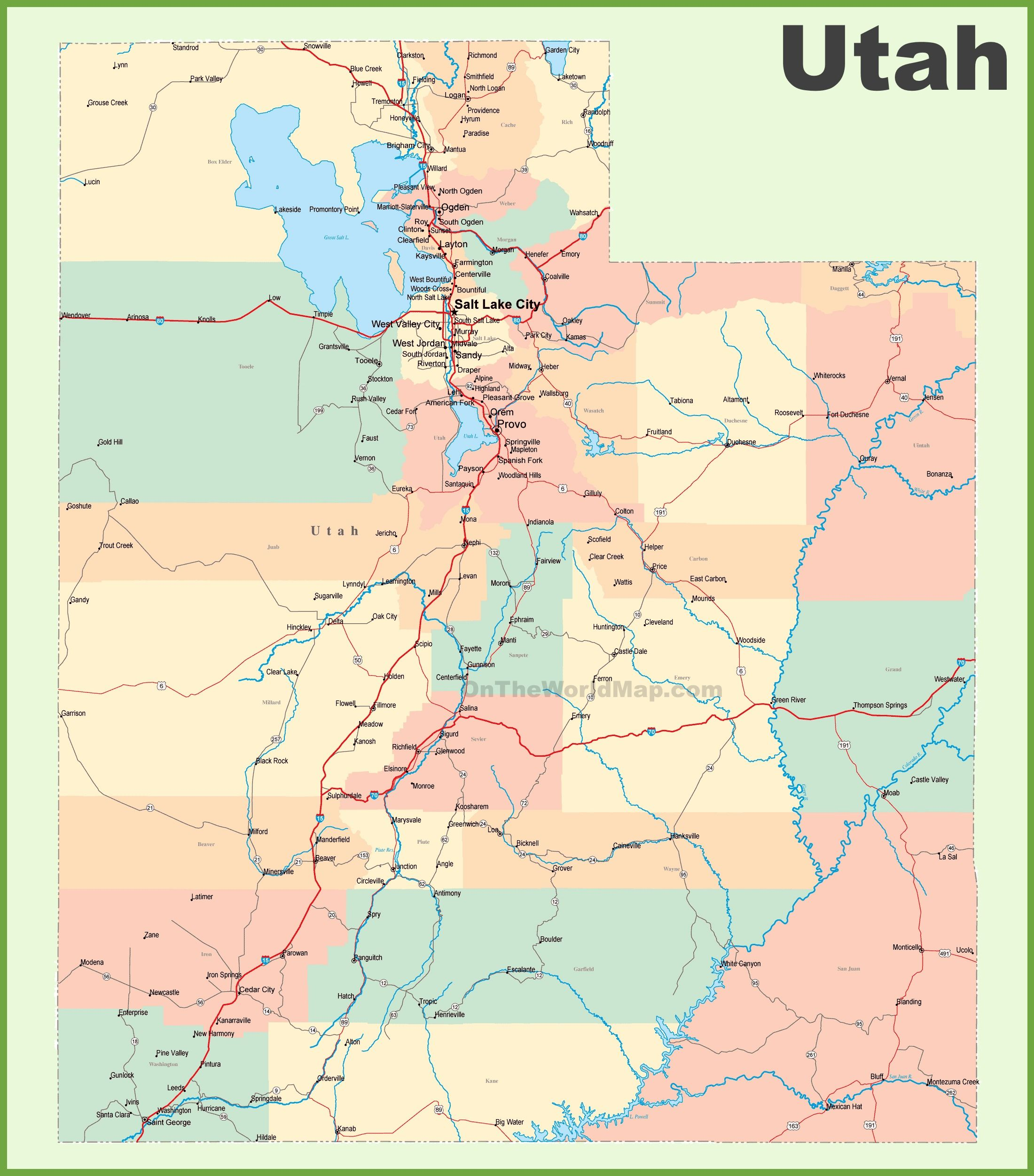 Road Map Of Utah With Cities