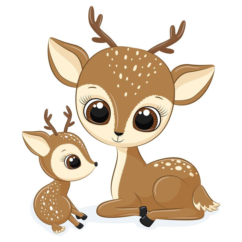 Mother And Baby Deer Clipart Png Eps Jpeg Baby Deer Clip Art Cute Animals Baby Deer Deer Cartoon Cartoon Clip Art