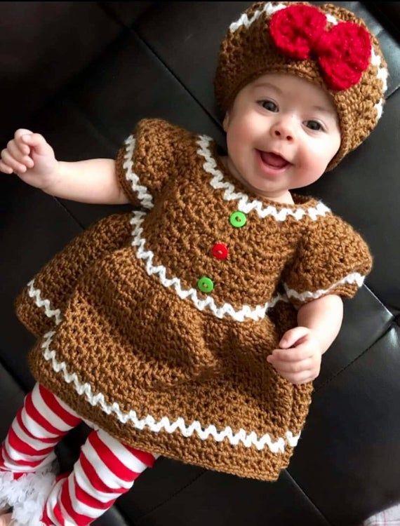 Photo of Gingerbread Dress, Crochet Gingerbread baby dress, Handmade Christmas Dress, infant winter dresses, Christmas Photo Shoot ideas