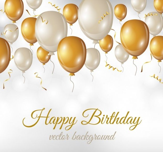 Birthday Background With Balloons Cakes And Candles