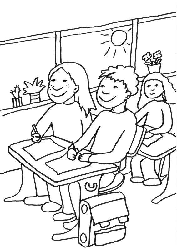Ausmalbild Zweite Klasse: Kostenlose Malvorlage: Schüler im ...