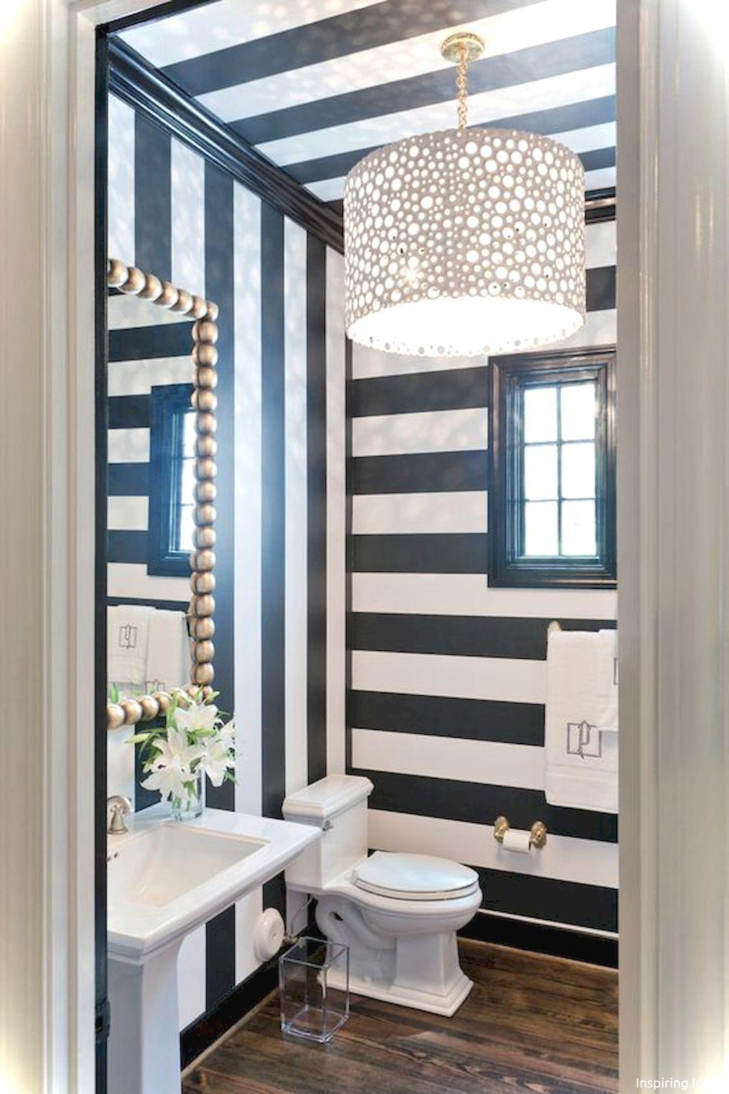 99+ Luxury Black and White Bathroom Ideas Striped