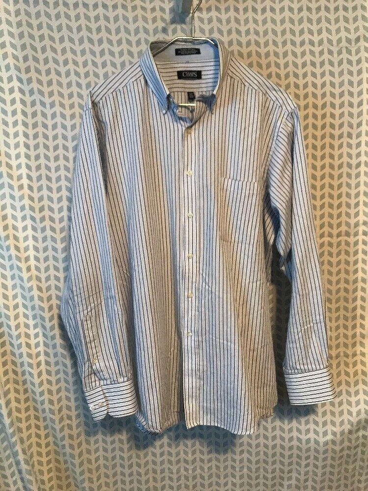 09632d0b2e0831 Chaps Men 16 16 1/2 34/35 Blue Stripe Wrinkle Free Button Down Shirt 275 |  eBay