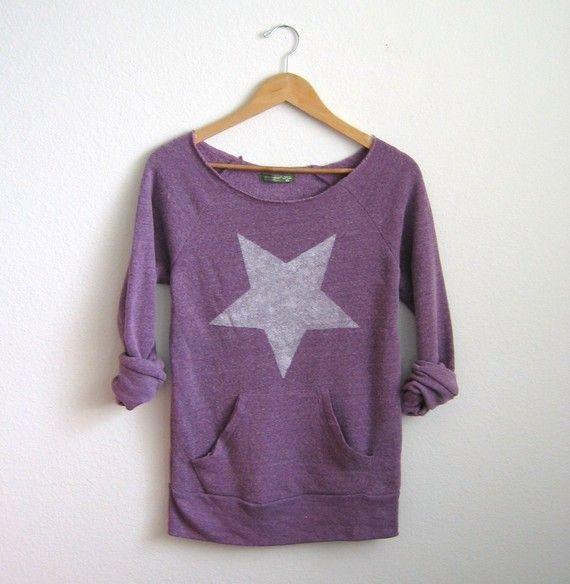 White Hot Star HAND STENCILED Deep Scoop Neck Heather Artist Series Sweatshirt in Purple