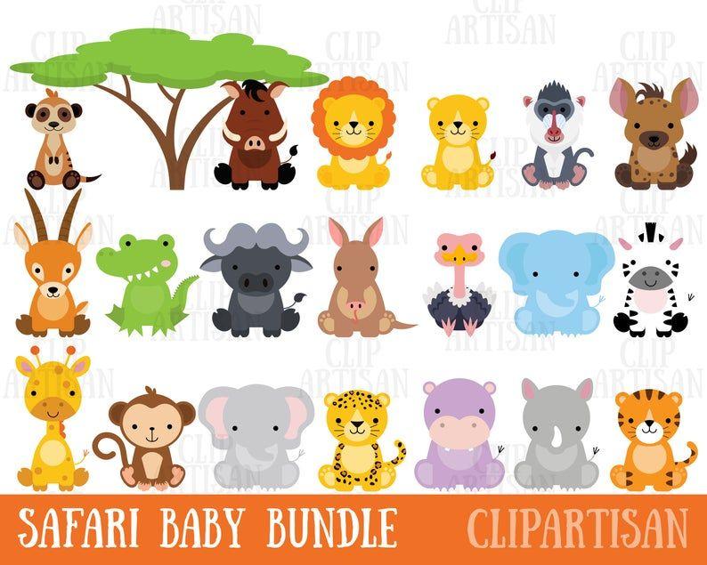 Safari Baby Animals Clipart Jungle Animals Clipart Zoo Etsy In 2020 Safari Baby Animals Animal Clipart Baby Animals