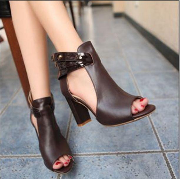 Women Peep Toe Ankle Strap Block Heel Elegant Sandals Fashion Shoes Plus  Size250 f173ff58df40