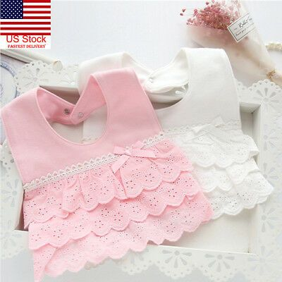 Details about US 100% Cotton Lace Princess Girl Baby infant toddler Newborn Bibs Feeding Cloth