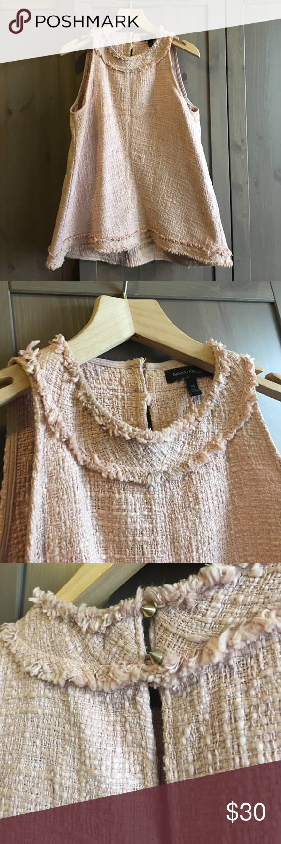 Blush Pink Tweed Banana Republic Top Swingy A-line shaped tweed top. Great neckline with gold studs that fasten it in back as shown in close up. Adds a little edge to a more traditional top. This is an XS but I am normally a medium and have a large chest and it fit perfectly. Banana Republic Tops Tank Tops