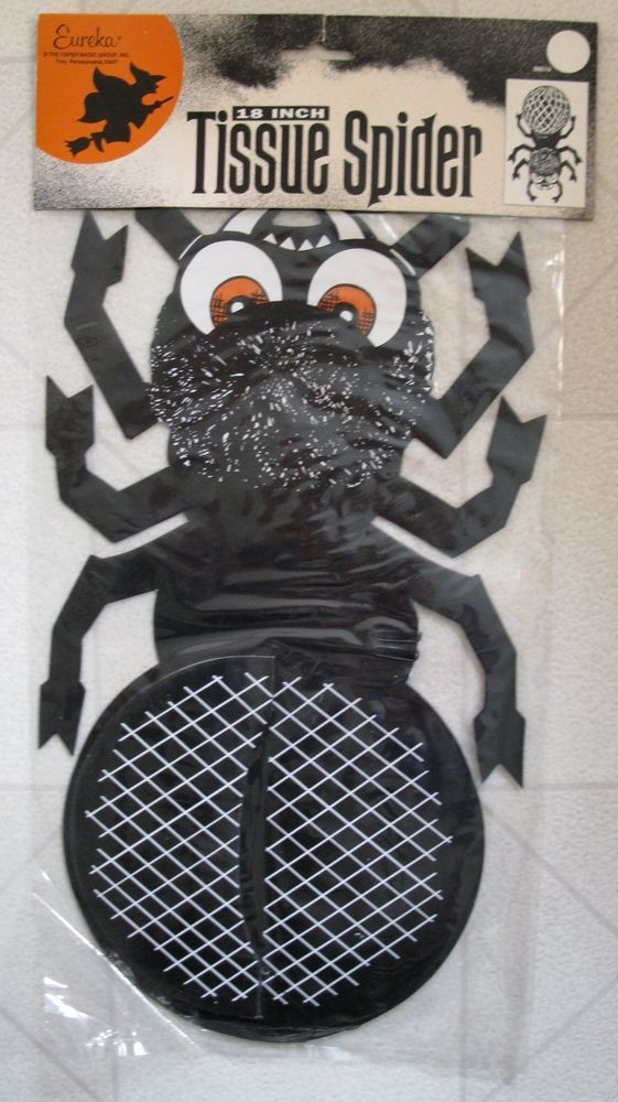 "Halloween Decoration Eureka Tissue Paper Hanging Large 18"" Black Spider NIP #BeistleCompany"