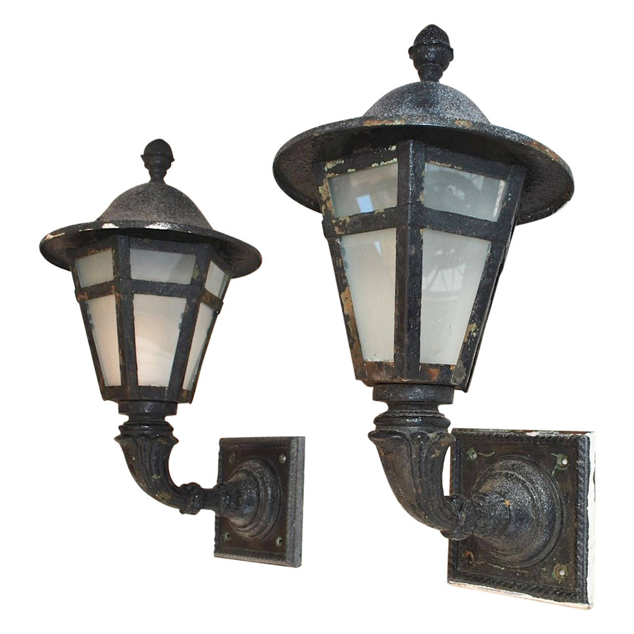 newest 34c51 f9166 Large Pair of 1920 Cast Iron and Metal Outdoor Sconces | la ...