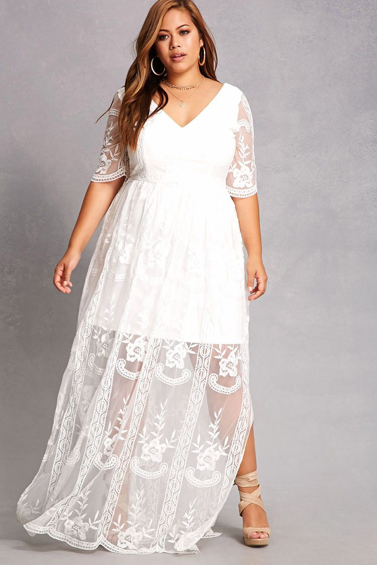 Forever 21 A Woven Gown By Soieblu Trade Featuring An Embroidered Sheer Mesh Overlay A V Ne White Lace Maxi Dress Lace White Dress Lace Dress With Sleeves [ 1125 x 750 Pixel ]