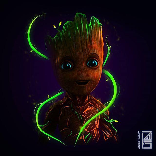 Baby Groot Neon Wallpaper Credit Aniketjatav On Instagram