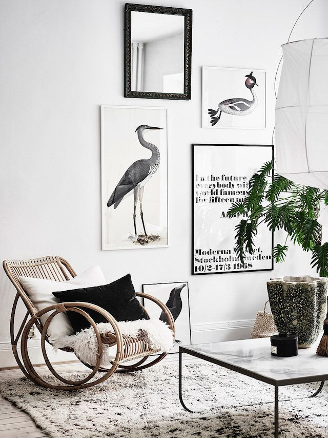 Rattan Rocking Chair In A Serene Swedish Home With Autumn Accents Anders Bergste Minimalist Living Room Decor Minimalist Living Room Living Room Scandinavian