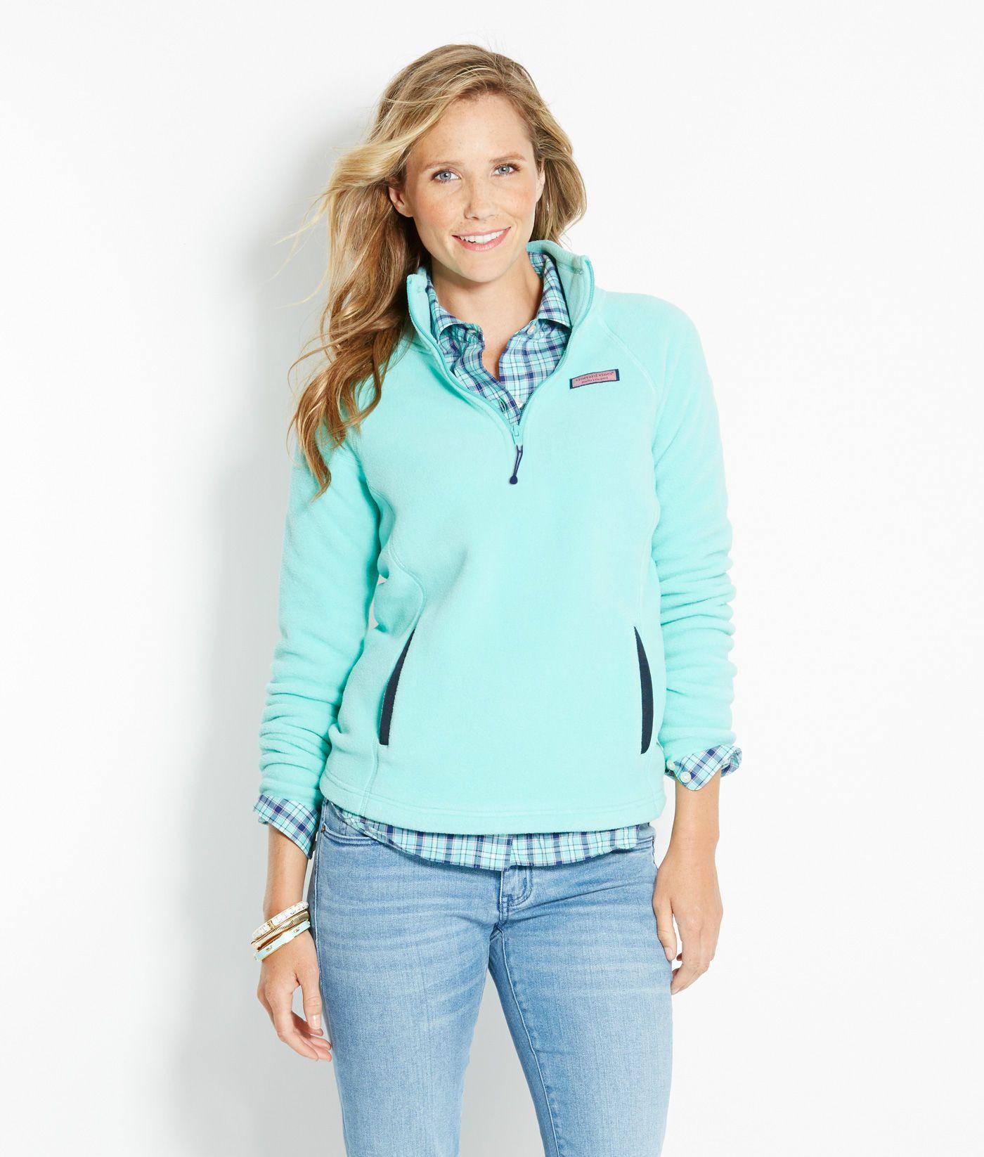 Shop fleece zip fleece for women vineyard vines capri blue