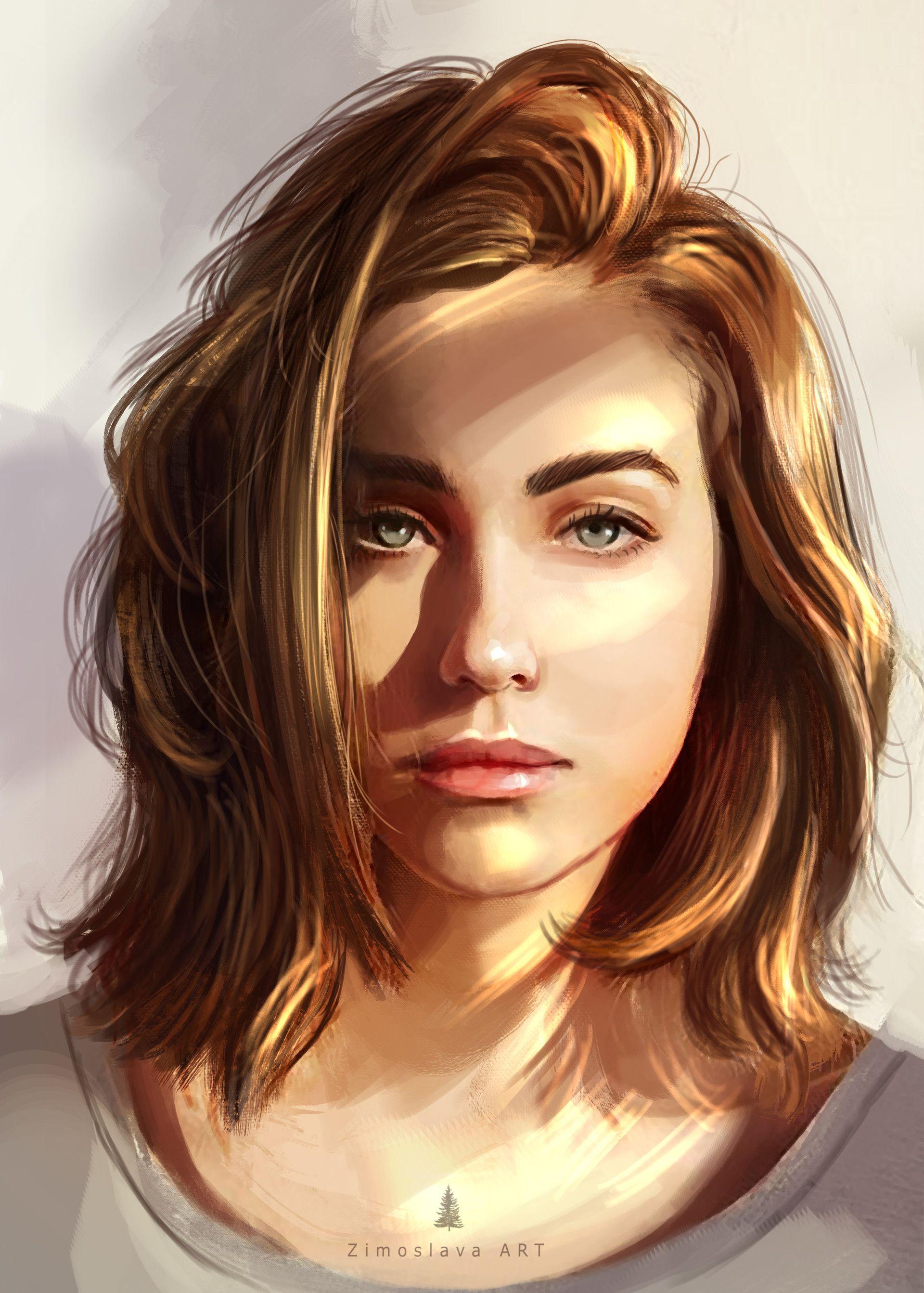 Artstation sketch girl portrait zimoslava art