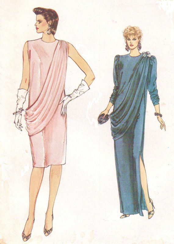 80s Very Easy Vogue Sewing Pattern 9047 Womens Dress with Grecian ...