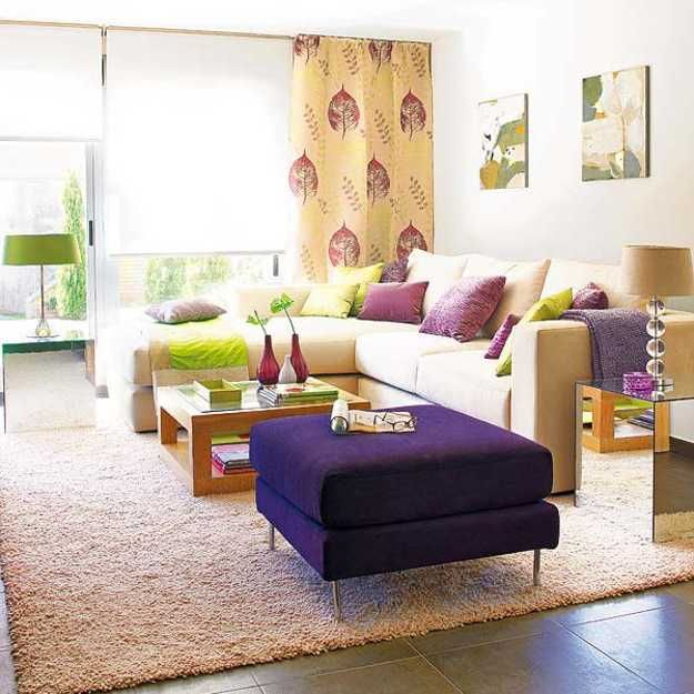 Purple Red And Light Green Color Combinations That Differentiate Modern Living Room Designs Casual Living Room Design Colourful Living Room Fun Living Room