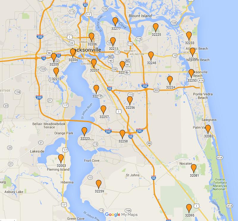 Zip Code Map Jacksonville Florida | Jacksonville Zip Codes ...