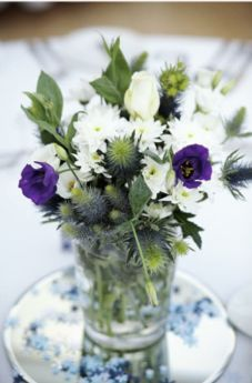 Scottish Weddings Thistles Table Decorations Wedding Flowers Centerpieces Bouquets Dinner