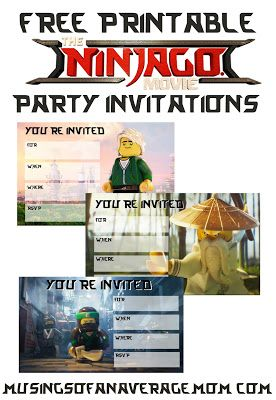 Free printable lego ninjago movie party invitations 4 different